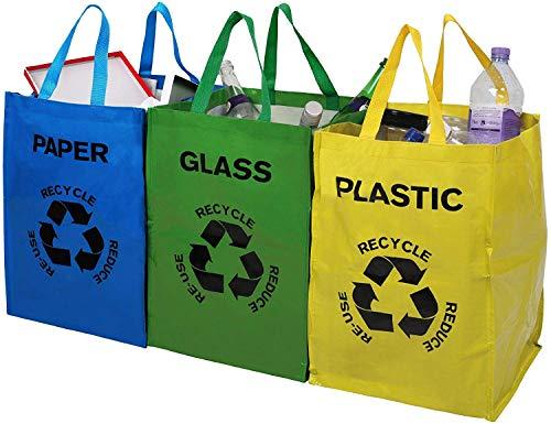 Premier Housewares Poubelle Tri Selectif- Lot de 3 Bacs à Tri Selectif Papier/Plastique/Verre