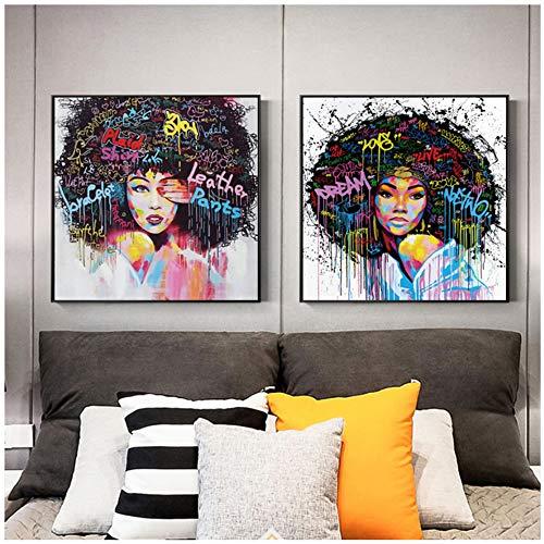 NIEMENGZHEN Druck auf Leinwand Moderne Pop-Art-Leinwand Malerei Afro-Frisur Frau Poster und Drucke Leinwand-Kunst Wandbilder für Raumdekoration 80 x 80 cm x 31 Kein Rahmen