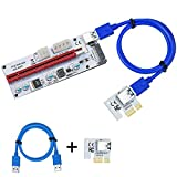 EXPLOMOS Latest PCI-E Express Cable 1X to 16X Graphics Extension Ethereum ETH Mining Powered Riser Adapter Card, 60cm Blue USB 3.0 Cable, 4 Solid Capacitors (VER 008S, 1-Pack)