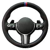 Shining wheat Funda de piel auténtica para volante de coche M Sport F30 F31 F34 F10 F11 F07 F12 F13 F06 X3 F25 X4 F26 X5 F15 M50d X6 F16 M50d F20 F21 M13555555555555555 M1355 M135 M1355 i M1400 I
