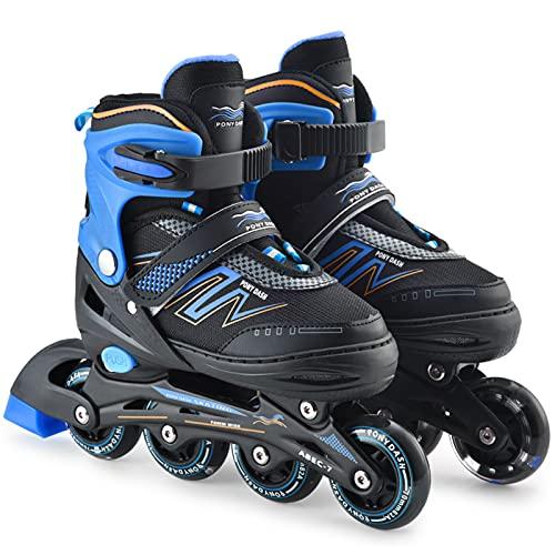 Inlineskates, verstellbare Rollschuhe, Outdoor Inlineskates Kufen mit blinkenden Rädern, Speed Skating Schuhe für Kinder/Erwachsene/Anfänger, blau, M