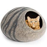 MEOWFIA Premium Felt Cat Bed Cave (Medium) - Handmade 100% Merino Wool Bed for Cats and Kittens (Light Grey/Medium)