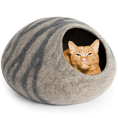 MEOWFIA Premium Felt Cat Bed Cave (Medium) - Handmade 100% Merino Wool...