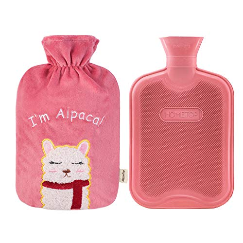 HomeTop Premium 2 Liter Classic Rubber Hot Water Bottle with 3D Cute Alpaca Fleece Cover (2L, Pink)