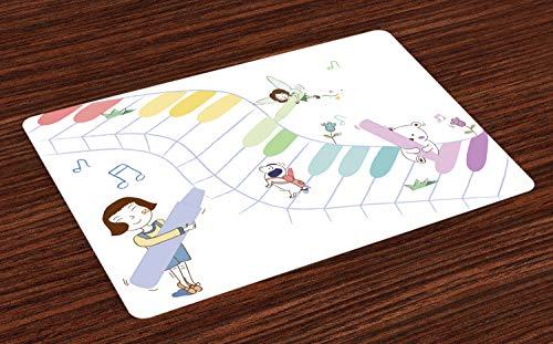 ABAKUHAUS Kinderkamer Placemat Set van 4, Kleurpotloden Schilderen Sleutels van de piano, Wasbare Stoffen Placemat voor Eettafel, Veelkleurig