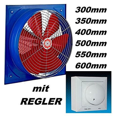 300mm Industrie Wandventilator mit 500Watt Regler Axial Wand Fenster Ventilator Gebläse Lüfter Wandgebläse Wandlüfter Wand Einbaulüfter Einbauventilator Axialventilator