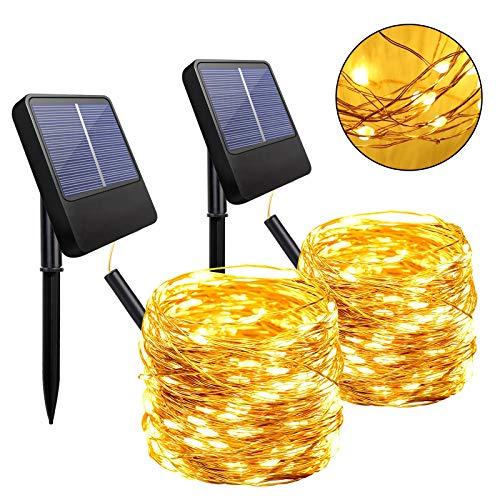 Anpro Cadena de luz solar para exteriores, 2 juegos de 200 LED, 8 modos de iluminación, con...