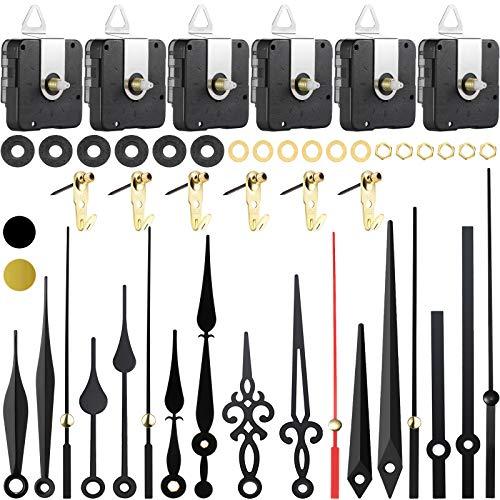 6 Juegos Mecanismos de Movimientos de Reloj Cuarzo de Alto Par Mecanismo de Piezas de Movimiento de Reloj de Eje Largo con Manecillas del Reloj Diferentes Repuestos Reparación Reloj DIY