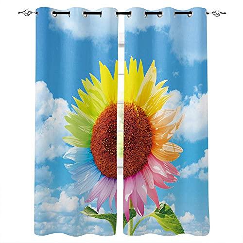 pgjremd Cortinas Cortina Impresión Fotográfica Blackout Cortinas 3D para Decoración De Sala De Estar Cortinascolorful Sun Flower 200 (H) X130 (W) Cmx2 Q4227