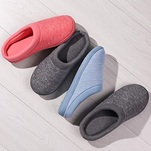 Women's Comfort Slip On Memory Foam French Terry Lining Indoor Clog House Slippers (Medium / 7-8 B(M) US, Light Gray)
