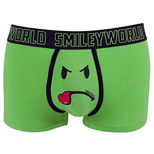 Smiley World Green Friend lustige Boxershort Unterhose Pant Underwear Geschenk für Männer, Scherzartikel witzig frech grüner Smileys 95% Baumwolle