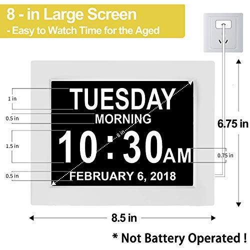 """【Upgraded】 Digital Calendar Alarm Day Clock - with 8"""" Large Screen Display, am pm, 5 Alarm, for Extra Large Impaired Vision People, The Aged Seniors, The Dementia, for Desk, Wall Mounted, White"""
