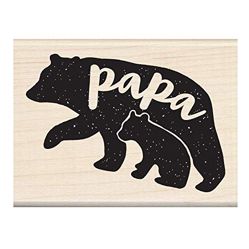 Inkadinkado Bear Wood Mounted Rubber Stamp for Father's Day Cards and Scrapbooking, 1pc, 3.02''L x 2.23''W