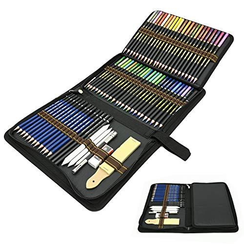 Juego de 72 Profesional Lápices de Colores, Lapices de Dibujo Artístico Conjunto Acuarelables, Carbón, Estuche Lápices, Ideal para Artistas, Adultos y Niños Colorear, Dibujo y Esbozos