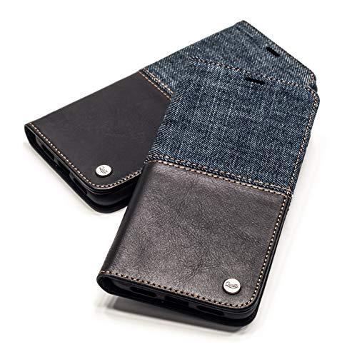 QIOTTI Hülle Kompatibel mit iPhone 11 Ledertasche aus Hochwertigem Leder RFID NFC Schutz mit Kartenfach Standfunktion in (Denim Black)