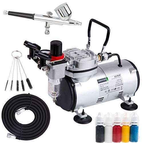 Timbertech Airbrush Kit AS18-2K, Multi-Purpose Gravity Feed Dual-Action Airbrush with Airbrush Compressor, 5 Primary Opaque Colors Acrylic Paint, Hose, Holder for Airbrush Painting