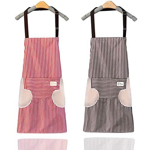 Grembiule da Cucina, 2 PCS Grembiule Regolabile con 2 Ampie Tasche Chef di Cucina Grembiule Cucina Uomo Donna per Barbecue, Cucina, Ristorante e Caffetteria, Cuoco, MasterChef, Pizzaiolo
