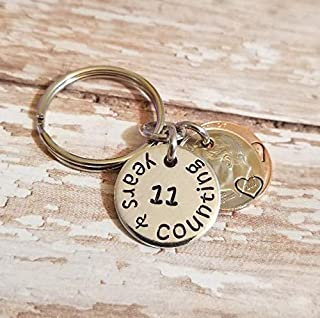 11 Years and Counting 11th Wedding Anniversary Key Chain 2008 Lucky Penny and Dime