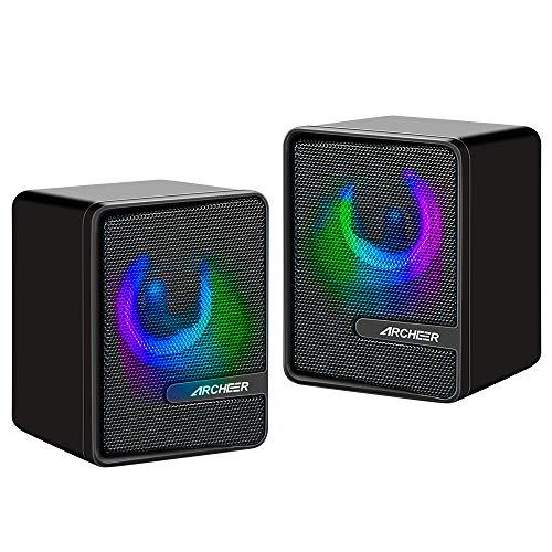 PC Lautsprecher Klein USB Gaming Lautsprecher Boxen Computer ARCHEER Stereo Mini Speaker mit RGB LED-Beleuchtung Tragbare Sound Boxen 3,5 mm Klinke für Desktop Laptop Smartphone