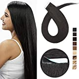 16'(40cm) Extensiones Adhesivas de Cabello Natural Sin Clip [2.5g*10pcs] #1 Negro Intenso 100% Remy Pelo Humano Tape in Hair Extensions (25g)
