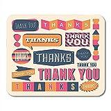 Mousepad Orange Hipster Blau Vielen Dank Für Retro-Stil'Danke' -Design Bunt Sie Pink Cool Office Supplies Desktop-Computer Notebooks Mauspads Mauspad 25X30Cm