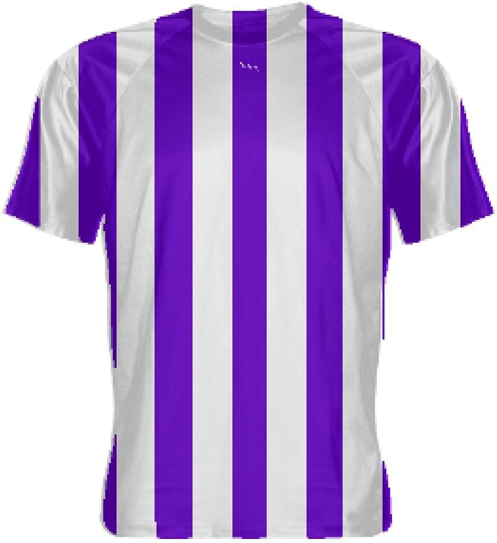 LightningWear Purple and White Striped Soccer Jerseys