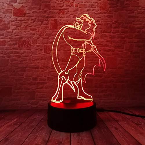 Batman 3D Illusion Lampe 7 couleurs Changement Optique Tactile Lumière USB et Art Déco Faites Une Ambiance Romantique cadeau d'anniversaire de Noël Saint Valentin