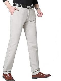 Mogogo Mens No Iron Straight Leg High Waist Relaxed Plain Front Pant