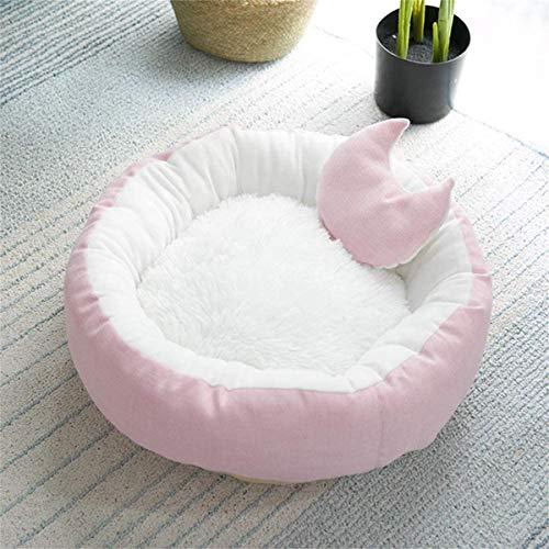 Wuudi Katzenbett niedliches Tierbett, rutschfestes weiches rundes Hundesofabett, 2 PCS weiches kleines Hundebett und Decke (pink1)
