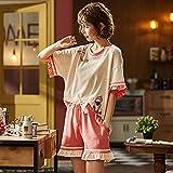 Gbrand Conjunto de Pijama cómodo para Mujer, pantalón Corto de Manga Corta para Mujer, Ropa de Dormir de algodón Suave para Mujer, Ropa de Dormir, Ropa de dormir-2XL_70-80KG