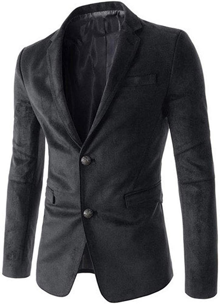Men Faux Suede Single Breasted Notched Lapel Casual Blazer Suit Jacket
