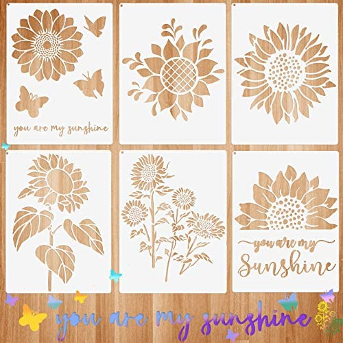 6 Pieces Sunflower Stencil Kit You are My Sunshine Stencil Butterfly Reusable Mylar Template product image