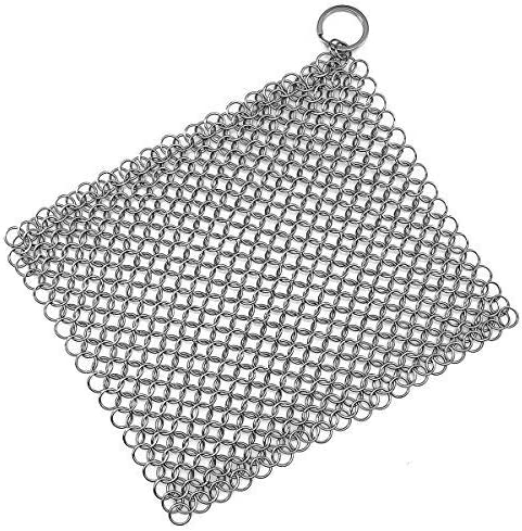 Stainless Steel Cast Iron Skillet Cleaner Chainmail Cleaning Scrubber with Hanging Ring for Cast Iron Pan,Pre-Seasone...