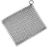 Stainless Steel Cast Iron Skillet Cleaner Chainmail Cleaning Scrubber with Hanging Ring