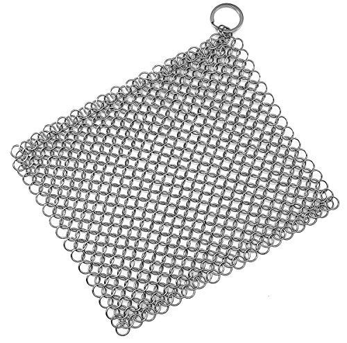 TOPULORS 316 Stainless Steel Cast Iron Skillet Cleaner Cast Iron Scraper Chainmail Scrubber for Cast Iron Pans, Pre-Seasoned Pans, Griddle Pans, BBQ Grills, and More Pot Cookware-7x7 Inch