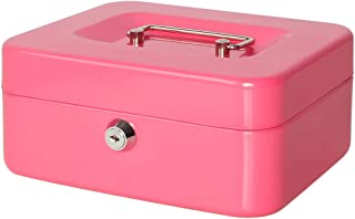 Jssmst Small Cash Box with Key Lock - Durable Metal Cash Box with Money Tray Pink, CB0104M