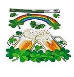 Versatility 500 Happy St Patrick's Day Window Cling Reusable Leprechaun Shamrock Large Party Decorations (Rainbow)