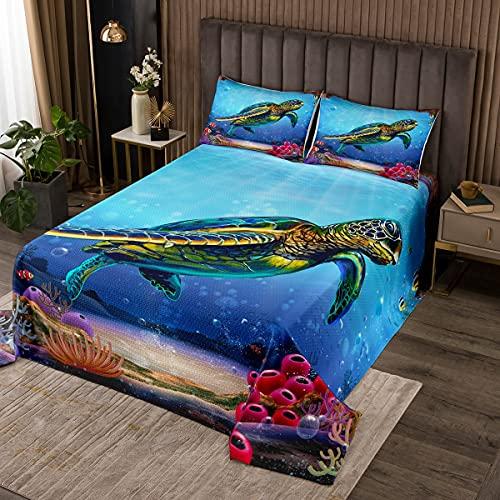 Ocean Coverlet, Antica Tartaruga Marine Life antasy Blue Undersea World Rosa Pesce Corallo 3 pezzi Copriletto Trapuntato Decorativo con 2 federe per cuscino, Matrimoniale