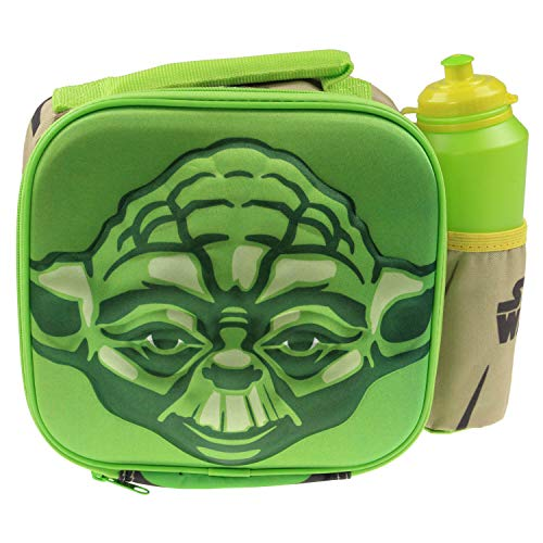 GGS Disney's Star Wars Yoda 3D Thermal Lunch Bag for Kids at School with Sports Bottle - Insulated Snack Bag for Children with Drinks Bottle - Reusable Tote Cooler Lunch Box