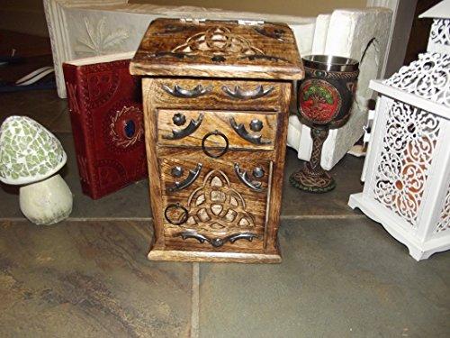 Celtic Triquetra Design Storage Chest Hand Carved (Brown)