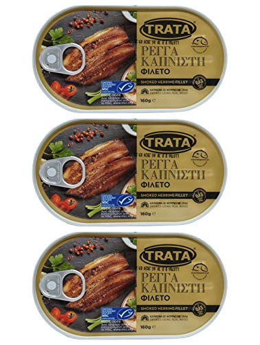 Trata Greek Smoked Herring Fillets (Kippers) | Traditional Seafood Appetizer | Loaded with Important Nutrients & Omega-3 | Net Weight 480g (3x160g).