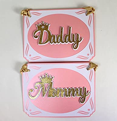 All About Details Shimmer Pink & Gold Princess Theme Daddy-Mommy Chair Signs
