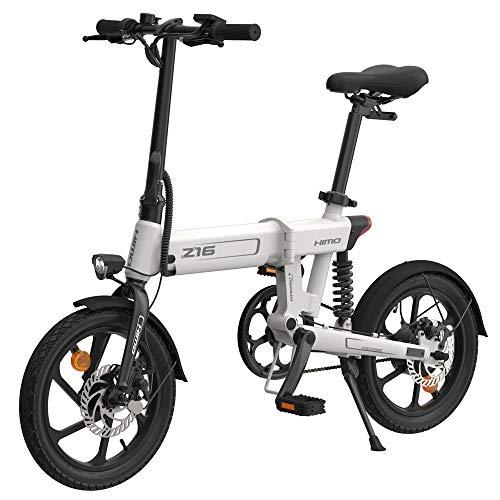 Festnight 16 Zoll E-Bike Pedelec Klapp Servounterstützungs Elektrofahrrad Moped E-Bike 80 km Reichweite 250W 10AH Elektrisches Fahrrad Damen Herren/White