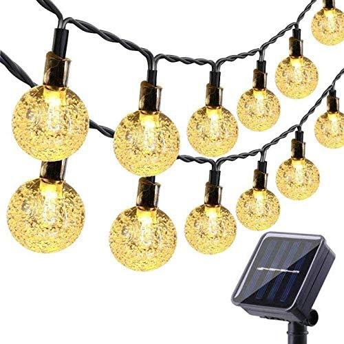 HJCC Guirnaldas Luces Exterior Solar, 50Led IP65 Resistente Al Agua 8 Modos Cadena De Bola Cristal Luz para Jardines, Casa, Bodas Y Navidad (Blanco Cálido)