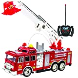 Toysery Remote Control Fire Truck Toy, Realistic Rc Trucks Toddler Toys, Siren Head Toy Red Fire Trucks for Kids, Big Fire Truck with Extending Fire Ladder - Cool Toys for Boys