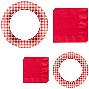 Party City Picnic Party Red Gingham Tableware Supplies for 120 Guests Include 2 Sizes of Checked Plates and Red Napkins