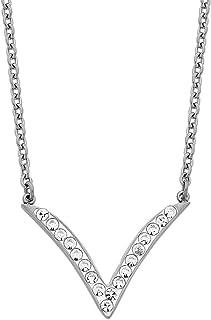 Bevilles Stainless Steel White Crystal V Necklace