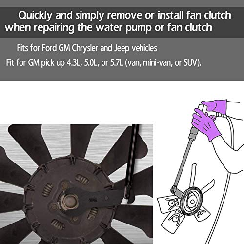 Yoursme 43300 Pneumatic Fan Clutch Wrench Clutch Removal Tool Kit Compatible with Ford GM Jeep Chrylser | 8 Pcs