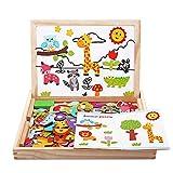 BeebeeRun Puzzles de Madera Magnético 110+ Piezas,Juguetes Niños 2 Años 3 4 5 Años,Pizarra Magnética Rompecabezas Tablero de Dibujo Juguete Educativo para Niños