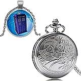 YYSD Juego de Reloj de Bolsillo con Tema Vintage con Caja de Regalo para Hombres y Mujeres, Elegante Juego de Regalo con Cadena Colgante Antigua, Relojes de Cuarzo